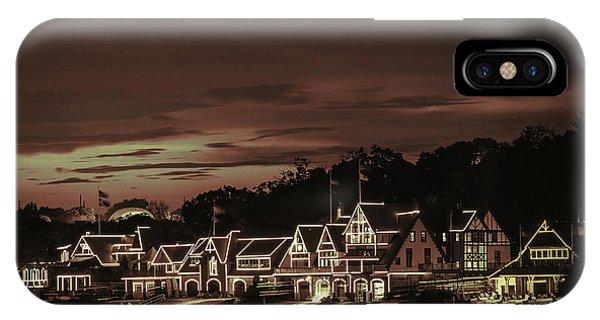 Boathouse Row Philadelphia Pa Night Retro IPhone Case