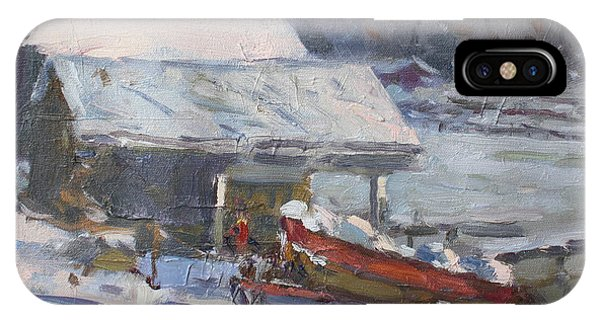 Freeze iPhone Case - Boathouses Along Frozen Canal  by Ylli Haruni