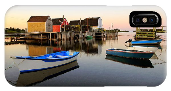 Boats And Fish Shacks At Blue Rocks, Nova Scotia IPhone Case