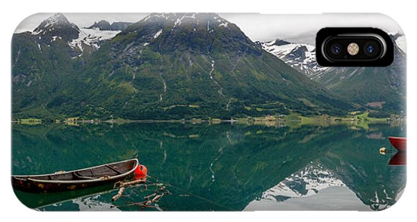 IPhone Case featuring the photograph Boats And Mountain Reflection In The Water In Panorama by IPics Photography