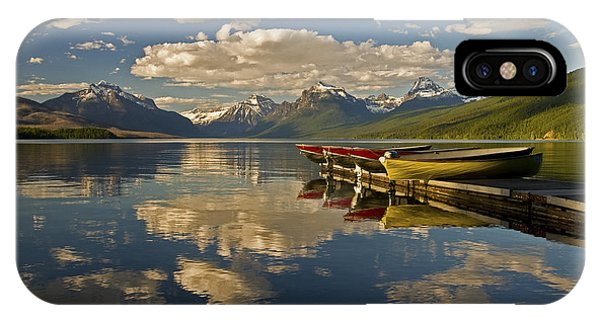 IPhone Case featuring the photograph Boats At Lake Mcdonald by Gary Lengyel
