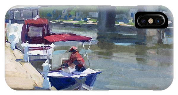 Waterscape iPhone Case - Boats At North Tonawanda Canal by Ylli Haruni