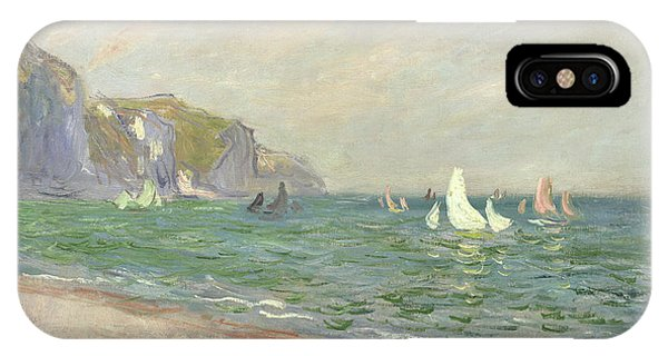 Boats iPhone Case - Boats Below The Cliffs At Pourville by Claude Monet