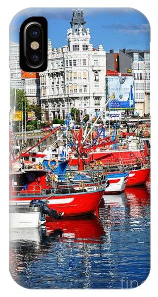 Boats In The Harbor - La Coruna IPhone Case