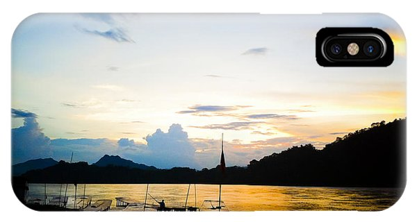 Boats In The Mekong River, Luang Prabang At Sunset IPhone Case