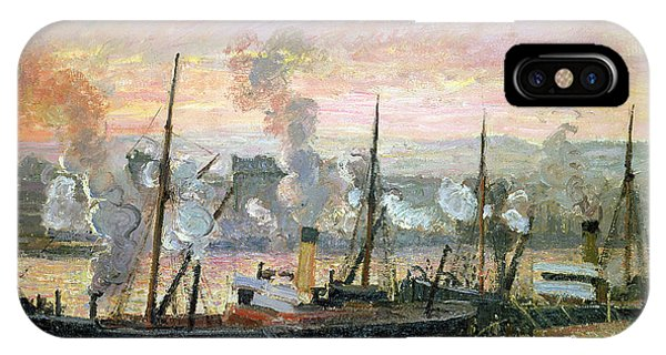 At Work iPhone Case - Boats Unloading Wood by Camille Pissarro