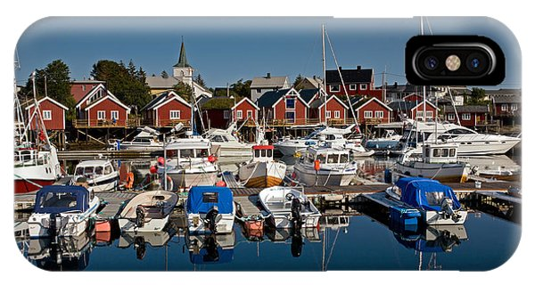 Boats With Reflections In Reine Port IPhone Case