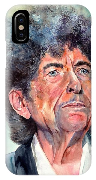 Bob Dylan iPhone Case - Bob Dylan Watercolor Portrait  by Suzann's Art