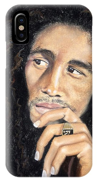 IPhone Case featuring the drawing Bob Marley by Ashley Kujan