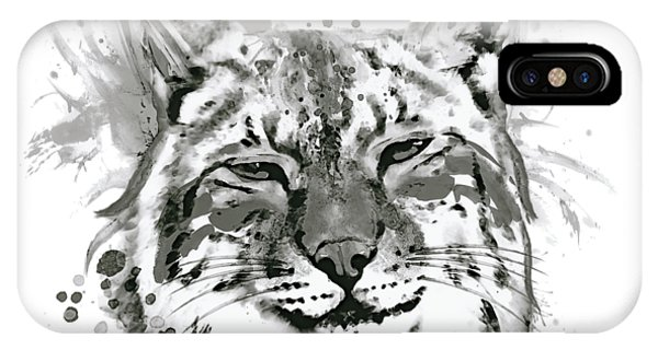 Lynx iPhone Case - Bobcat Head Black And White by Marian Voicu