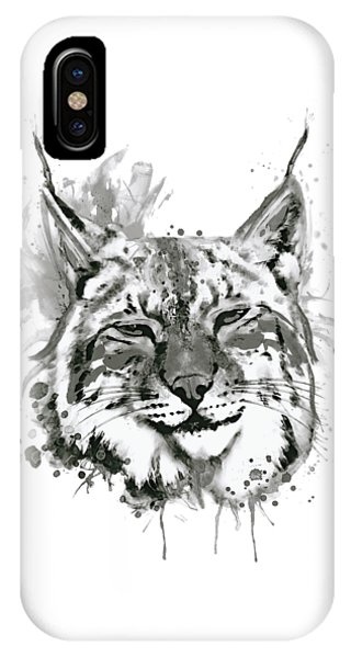 Bobcats iPhone Case - Bobcat Head Black And White by Marian Voicu
