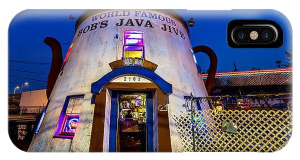 Bob's Java Jive - Historic Landmark During Blue Hour IPhone Case