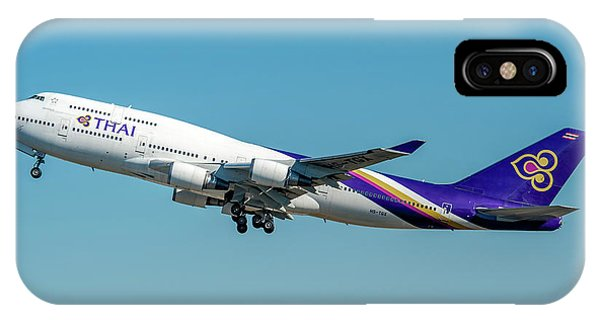 Alitalia iPhone Case - Boeing B747-400 Thai Airline Departed From Milano Malpensa Airport by Roberto Chiartano