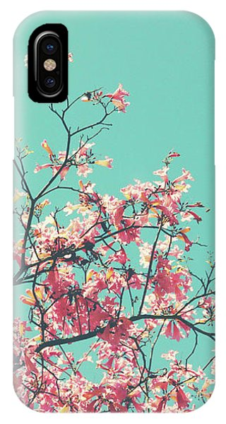 Aqua iPhone Case - Boho Cherry Blossom 1- Art By Linda Woods by Linda Woods