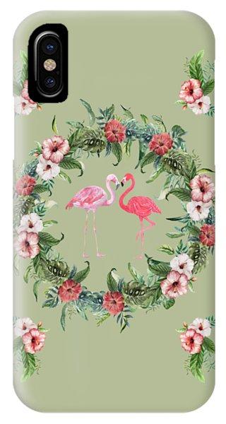 IPhone Case featuring the digital art Boho Floral Tropical Wreath Flamingo by Georgeta Blanaru