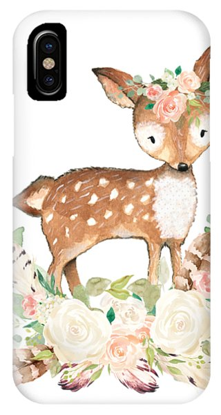 Floral iPhone X Case - Boho Woodland Blush Dear With Feathers by Pink Forest Cafe