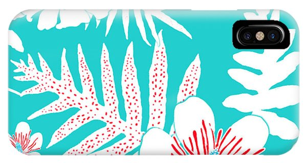 Bold Fern Floral - Turquoise IPhone Case