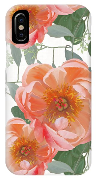 Repeat iPhone Case - Bold Peony Seeded Eucalyptus Leaves Repeat Pattern by Audrey Jeanne Roberts