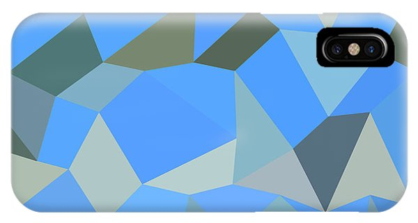 Bondi Blue Abstract Low Polygon Background Phone Case by Aloysius Patrimonio
