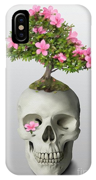 IPhone Case featuring the painting Bonsai Skull by Ivana Westin