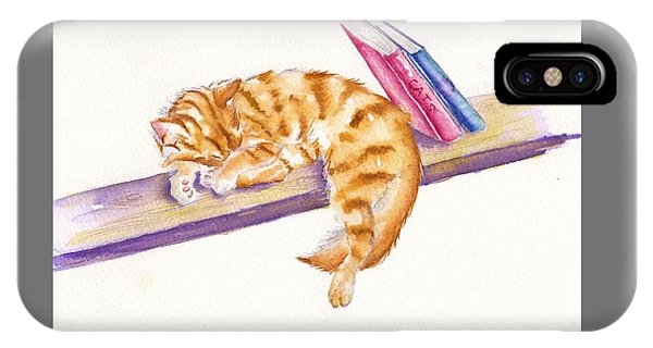 Cat iPhone X Case - Bookend by Debra Hall