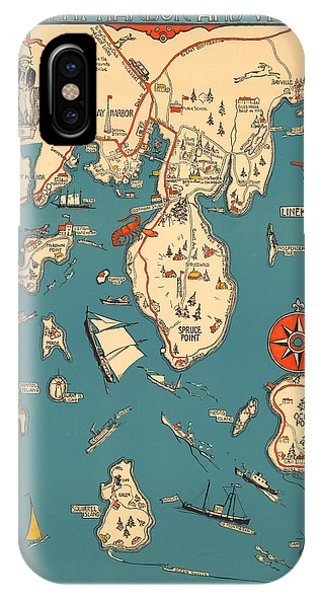 Boothbay Harbor And Vicinity - Vintage Illustrated Map - Pictorial - Cartography IPhone Case