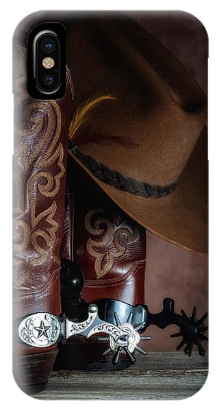 Old Barns iPhone Case - Boots And Spurs by Tom Mc Nemar