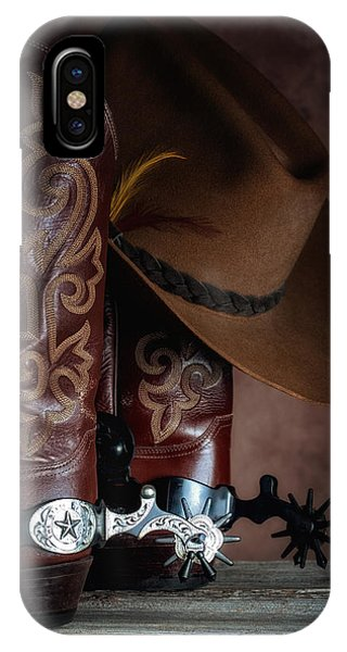 Old Barn iPhone Case - Boots And Spurs by Tom Mc Nemar
