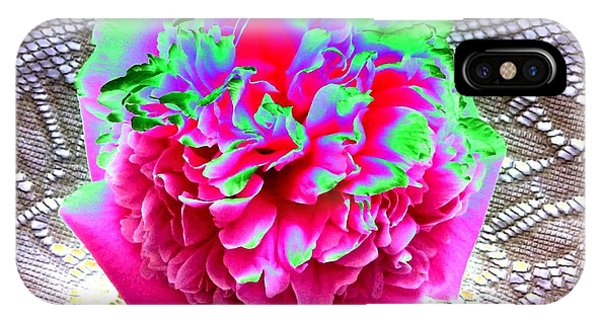 Peony iPhone Case - Bordered Peony Abstract by Will Borden