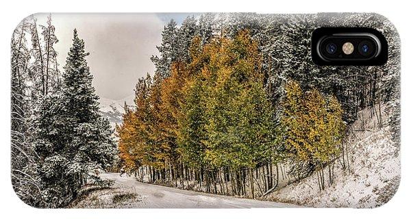 Boreas Pass Road Aspen And Snow IPhone Case