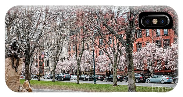 Brownstone iPhone Case - Boston Back Bay In Spring by Edward Fielding