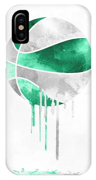 Celtics iPhone Case - Boston Celtics Dripping Water Colors Pixel Art by Joe Hamilton