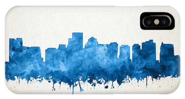 Boston City Skyline Watercolor 11 IPhone Case