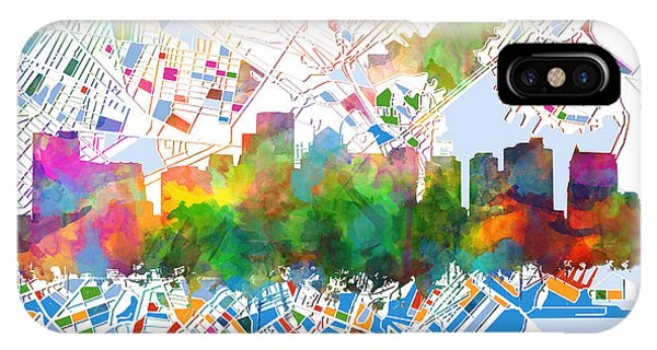 Boston City Skyline Watercolor 15 IPhone Case