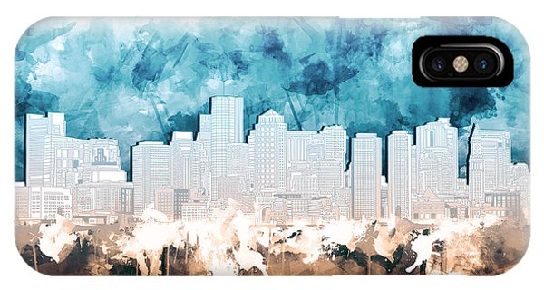 Boston City Skyline Watercolor 2 IPhone Case
