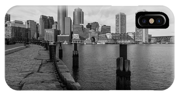 Boston Cityscape From The Seaport District In Black And White IPhone Case