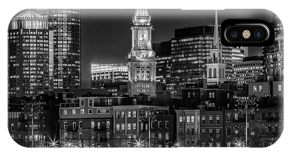 Boston Evening Skyline Of North End And Financial District - Monochrome IPhone Case