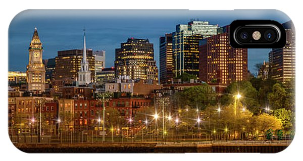 Boston Evening Skyline Of North End And Financial District - Panoramic IPhone Case