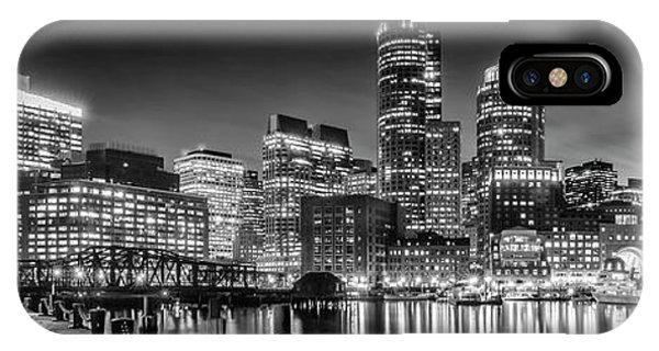 Boston Fan Pier Park And Skyline In The Evening - Monochrome Panoramic IPhone Case