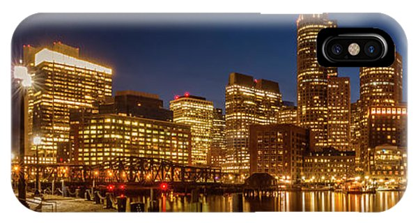 Boston Fan Pier Park And Skyline In The Evening - Panoramic IPhone Case