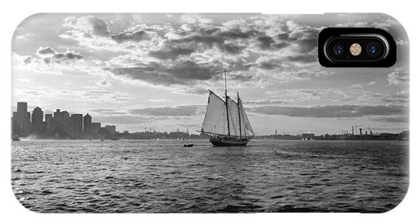 Boston Harbor Sailboat Boston Ma Black And White IPhone Case