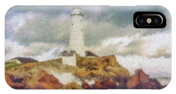 Boston Light On A Stormy Day IPhone Case