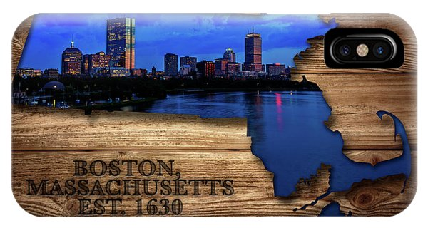 Bean Town iPhone Case - Boston Massachusetts State Map by Rick Berk