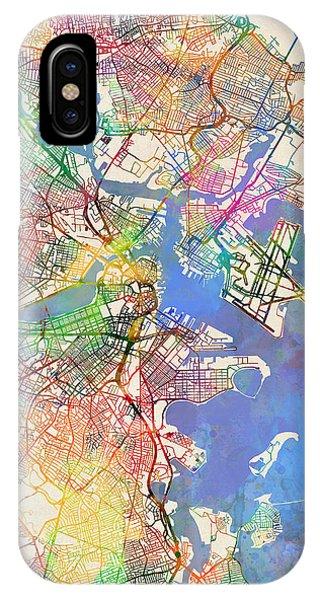 Boston Massachusetts Street Map Extended View IPhone Case