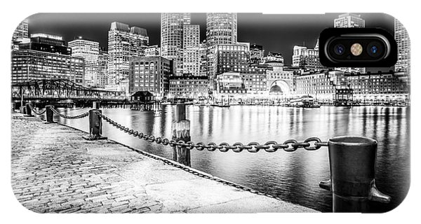 Chain iPhone Case - Boston Skyline At Night Black And White Picture by Paul Velgos