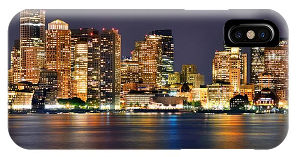 Downtown iPhone Case - Boston Skyline At Night Panorama by Jon Holiday