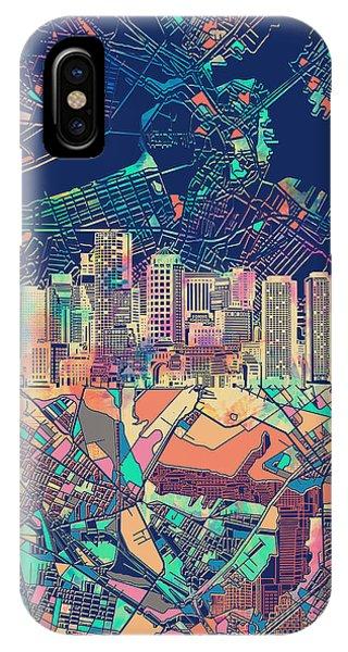 Boston Skyline Blue IPhone Case