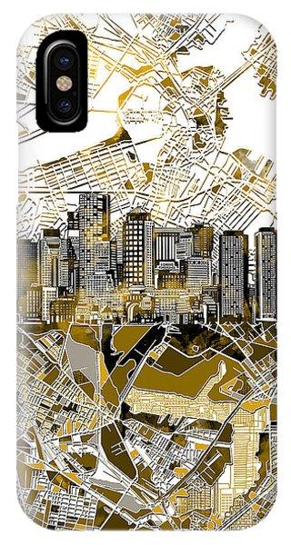Boston Skyline Sepia IPhone Case