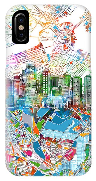 Boston Skyline White IPhone Case