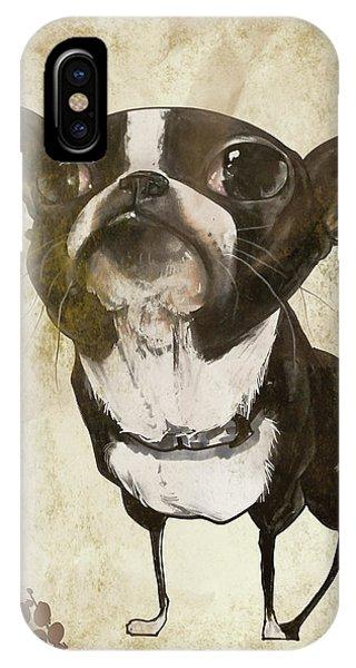 Caricature iPhone Case - Boston Terrier - Antique by John LaFree